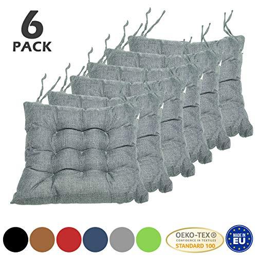 BCASE, Pack de 6 Cojines de Asiento y Silla, 42x42cm, Funda de...