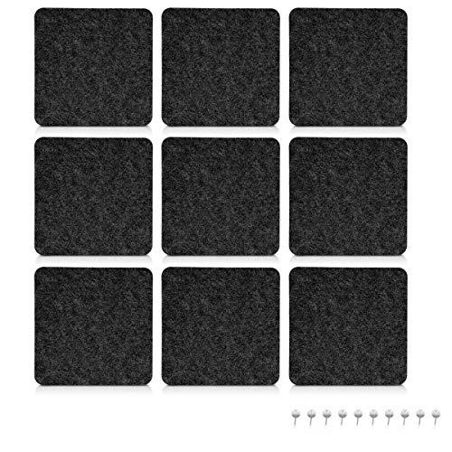 Navaris Filz Memoboards Set quadratisch - 9x Filz Pinnwand 17,7x17,7cm mit Stecknadeln und Klebeband - Filzboard für Küche und Büro - Dunkelgrau