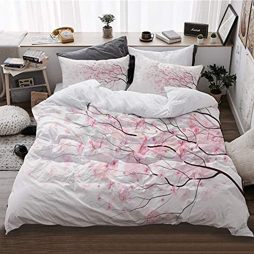HATESAH Funda De Edredón,Artístico Sakura Branch con Flores de Cerezo tierna Primavera Japonesa,3 Pcs Ropa de Cama Funda Nórdica Sábana Bajera (240 * 260CM)
