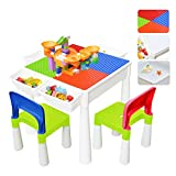 67i Kids Activity Table and 2 Chairs Set 3-in-1 Multi Activity Table Set Use As A Building Block Table Water Table Craft Table 120Pcs Large Building Blocks with 4 Storage Boxes (Red/Green/Blue/Orange)