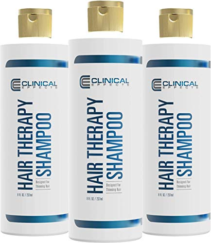 Clinical Effects: Hair Therapy Shampoo – Hair Growth Shampoo – 8 Fl Oz – 3 Bottles – All Natural, DHT Blocking Ingredients with Biotin, AnaGain and Baicapil - Hair Care and Hair Loss Solution