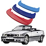 Lanyun E36 Grill Front Kidney Grille m Color Grill Insert Trims Stripes Logo Emblem fit 1996-1998 BMW 3 Series E36 Grill with 11 Beam