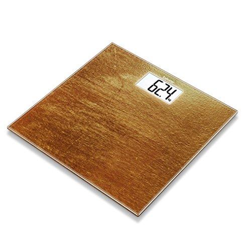 Beurer GS 203 Rust, Glaswaage in Rostoptik, extra große LCD-Anzeige, 150 kg Tragkraft
