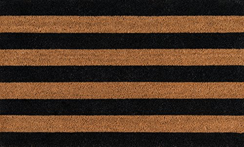 Erin Gates by Momeni Park Stripe Black Hand Woven Natural Coir Doormat 1'6' X 2'6'