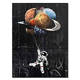 Astronauta Espacio Límite Pintura al óleo Lienzo Pintura Espacio Planta Graffiti Moderno Calle Arte de la pared Decoración 60x80cm