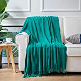 Battilo Dekorative Überwurfdecke, weich, warm & gemütlich, für Couch, Sofa, Bett, Strand, Reisen, 127 x 152 cm, Aquamarine