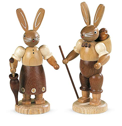 Müller Easter bunny, female, height 11 cm / 4 inch, original Erzgebirge by Mueller Seiffen