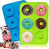 BAKHUK Donut Pan, Silicone Donut Mold, 2 Pcak Non-Stick Mold for 6 Full-Size Donuts, Bagels and More