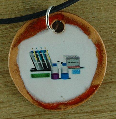 Echtes Kunsthandwerk: Schöner Keramik Anhänger DNA-Labor; Sequenzieren, Biologie, Genetik, Studium, Uni, Unterricht, PCR, Gene, DNA