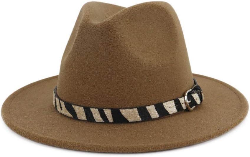 Wide-Brimmed Cotton Fedora Hat Zebra Striped Belt Panama Fashion Hat Men's Women's Terry Hat Autumn Winter ZRZZUS (Color : Dark Coffee, Size : 56-58cm)