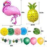 SPECOOL Hawaiian Tropical Dekoration, 52PC Beach Party Supplies mit bunten Ananas Flamingo Ballons Palm Simulation verlässt Banner Papier Pom Poms für Luau Party Dschungel Sommer Tischdekorationen - 2