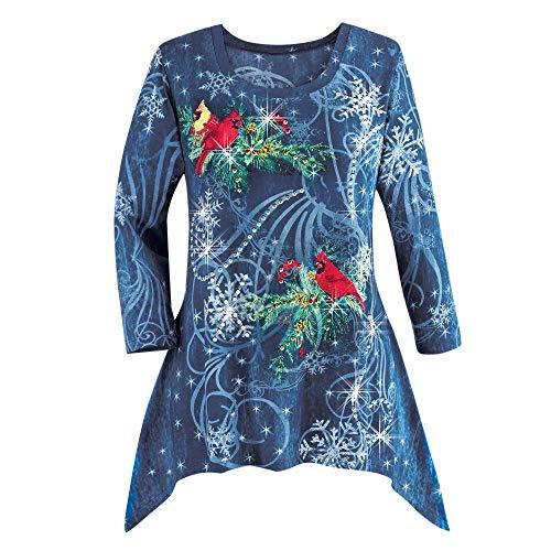 VEMOW Heißer Elegante Damen Plus Size Oberteile Winter Festliche Wasserfall Weihnachten Unregelmäßige Lässige Tägliche Party Lose Hem Bluse Top(X1-Blau, 52 DE / 4XL CN)