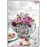 ハッピー80歳の誕生日お母さんのグリーティングカード - 花のティーポットデザインJJ