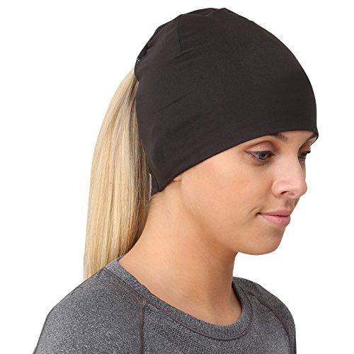 TrailHeads Ponytail Hat/Women's Performance Running Beanie w/Reflective Accents - Adrenaline Series - Black