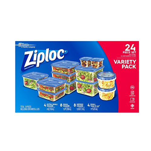 Ziploc Food Storage Containers, Perfect for on-the-go snacking, BPA Free, Variety Pack, 24 Count