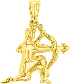 High Polish 14k Yellow Gold 3D Sagittarius Zodiac Sign Charm Archer Shooting Arrow Pendant