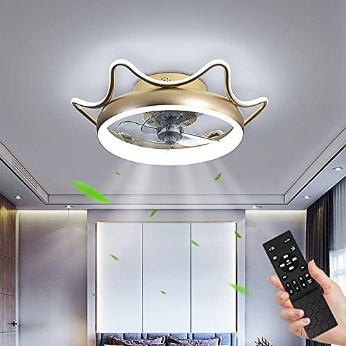 Ventilador de Techo con Control Remoto 80W Regulable Lámpara de Techo 3 Temperaturas de color y 6 Velocidades, Ultra Silencioso Lámpara de Ventilador, Luz de Techo para Dormitorio Restaurante Ø55cm