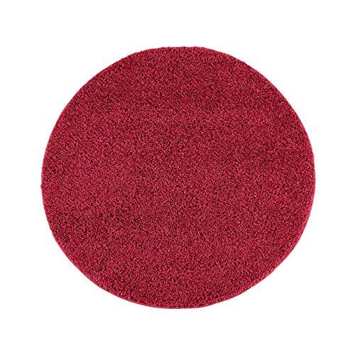 Hochflor Teppich | Shaggy Teppich fürs Wohnzimmer Modern & Flauschig | Läufer für Schlafzimmer, Esszimmer, Flur und Kinderzimmer | Langflor Carpet rot 120x120 cm rund