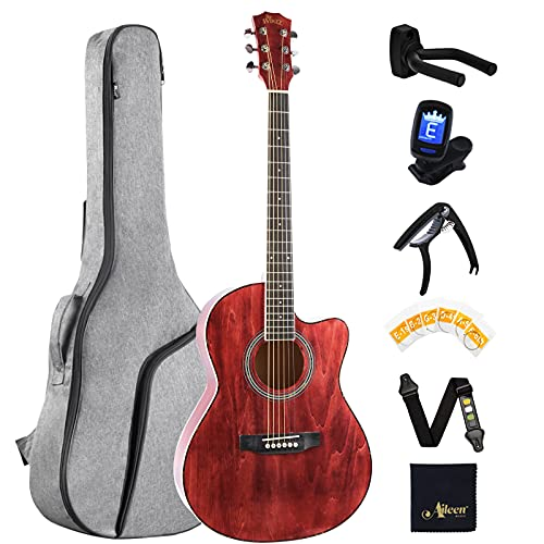 Winzz Acoustic Guitar Travel, Guitars for Beginners Adults, Guitar Folk Red 39 Inches