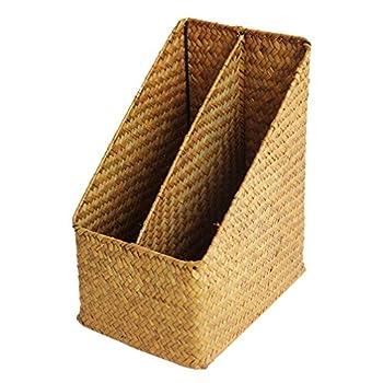 Yardwe Magazine File Holder Handmade Wicker Storage Basket Organizer Box for Home Office Work Desktops Brown