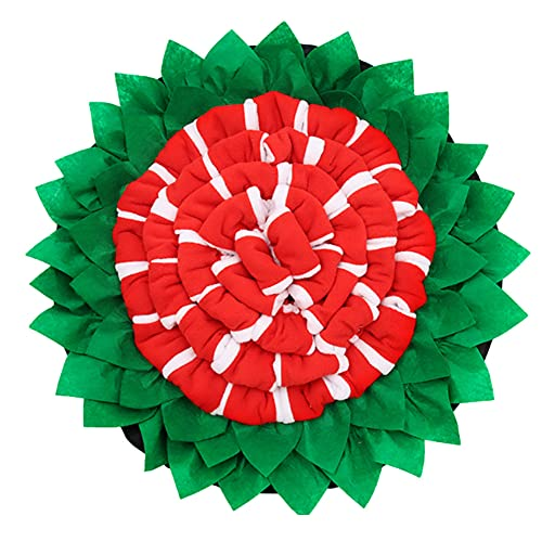 LPWCAWL Pet Dog Snuffle Mat, Sunflower Shape Dog Olfactory Training Slow Feeding Mat, Game Mat,Used for Dog Foraging Skills Training And Prevention of Gluttony,50X50cm,Red