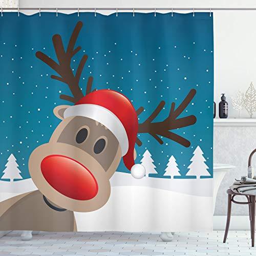 ABAKUHAUS Weihnachten Duschvorhang, Noel Fun Nursery Cartoon, Set inkl.12 Haken aus Stoff Wasserdicht Bakterie & Schimmel Abweichent, 175 x 200 cm, Brown Red Navy & Weiß
