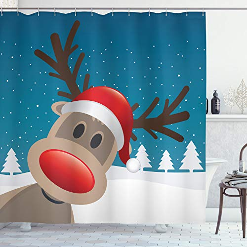 ABAKUHAUS Christmas Shower Curtain, Rudolph the Reindeer with Santa Hat Holiday Kids Themed Fun Cartoon, Cloth Fabric Bathroom Decor Set with Hooks, 70 Inches, Red Brown Navy