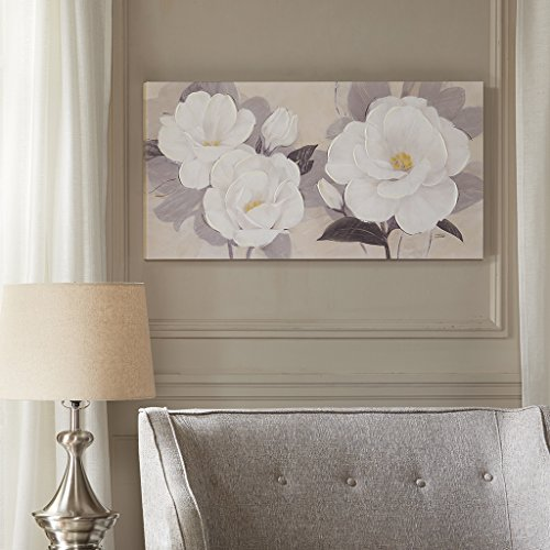 Madison Park, Midday Bloom Florals Wall Art Hand Embellished Oversize Canvas, Modern Floral Design, Global Inspired Painting Living Room Accent Décor, Multi, 39 x 19