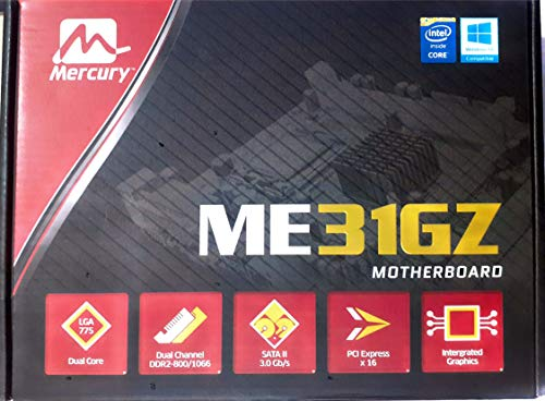 Mercury ME31GZ Motherboard with Intel core 2/ Core 2 Duo/Pentium/Celeron Processor in LGA775 Package Support 4-pin CPU Fan with Fan Speed Control and Software Drivers & User Manual Facility