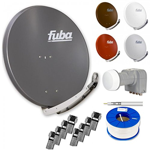 Fuba Digital HDTV Sat-Anlage 4 Teilnehmer | Fuba DAA 850 Premium Aluminium Sat-Antenne in Wunschfarbe + DEK 416 Quad LNB + 100m Fuba KKE 740 Koaxialkabel