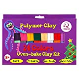 DIY Colored Clay, 24 Color DIY Creative Street Model Clay, Soft Molded Oven Baking Clay and Tutorial. Best Gift for Children.