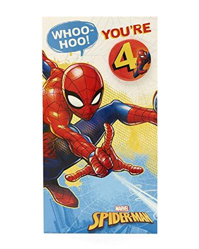 Geburtstagskarte zum 4. Geburtstag – Spiderman – Geburtstagskarte für Jungen zum 4. Geburtstag – Anstecker im Lieferumfang enthalten