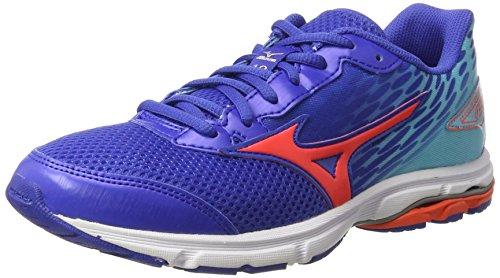 Mizuno Wave Rider 19 Jr, Zapatos de correr para Niños, Azul (Dazzling Blue/Fiery Coral/Capri), 33