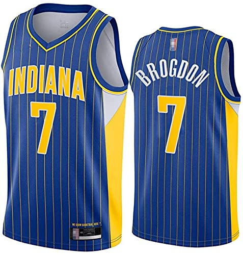 XUECHEN Ropa Uniformes de Baloncesto de los Hombres, Indiana Pacers # 7 Malcolm Brogdon NBA Basketball Jerseys sin Mangas Secado rápido Camiseta Tops Tops Chalecos Informales, Azul, XL (180~185cm)
