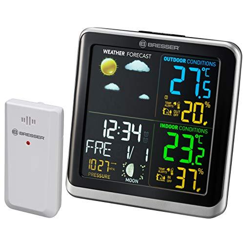 Bresser Wetterstation Funk mit Außensensor ClimaTemp TB Wetterstation mit LCD Farbdisplay und zwei Weckzeiten