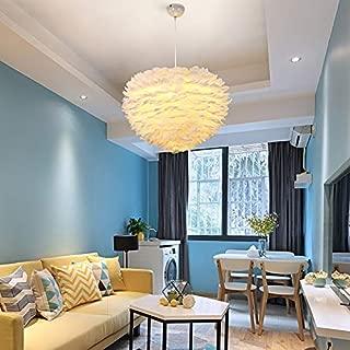 White Feather Ceiling Pendant Light Shade, CraftThink Ceiling Lamps 15.75 inch/40cm 1 Light E27 110V for Children's Room Living Room, Bedrooms, Best Gift for Children, Kids White-(Bulb Not Included)