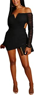 IyMoo Woman Bodycon Dress Sexy Club Outfits for Women Elegant Off Shoulder V Neck Long Sleeve Mini Club Dresses