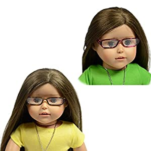 """Set includes 2 pairs of Doll Glasses Set of 2 Glasses with Brown Leopard Frame Fits all 18 inch Dolls icluding American Girl Dolls Made by The New York Doll Collection, offering the highest quality 18"""" Doll Furniture, 18"""" Doll Clothes, 18"""" Doll Shoes..."""