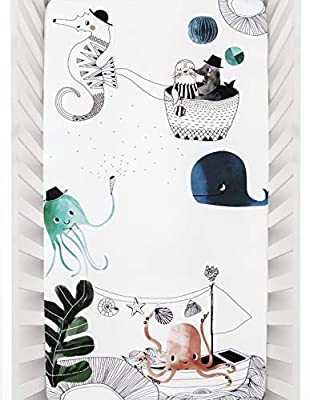 Rookie Humans 100% Cotton Sateen Fitted Crib Sheet: Underwater Love. Modern Nursery, Use as Photo Background for Your Baby Pictures. Standard Crib Size (52 x 28 inches)