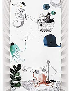 Rookie Humans 100% Cotton Sateen Fitted Crib Sheet: Underwater Love. Complements Modern Nursery, Use as a Photo Background for Your Baby Pictures. Standard Crib Size (52 x 28 inches) (Cotton Sateen)