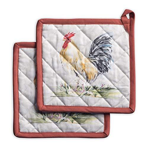 Maison d' Hermine Campagne 100% Baumwolle Set mit 2 Topflappen BBQ | Kochen | Backen | Mikrowelle | Grillen | Frühling/Sommer (20 cm x 20 cm)