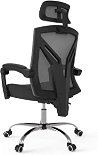 Living Decoration Office Chair Desk Chair Ergonomic Office Chair High Back Desk Chair with Lumbar Support Height Adjustable Seat and Headrest Breathable Mesh Back Soft Foam Seat Cushion (Color : Wh