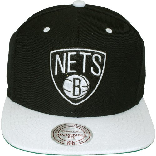 Mitchell & Ness - Casquette Snapback Homme Brooklyn Nets Black Logo 2 Tone