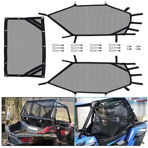 RZR Window Net, kemimoto UTV Roll Cage Mesh Guard Front Rear Window Net for RZR 570 800 S 800 900 1000
