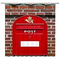 赤いメールボックスレターボックスEMSメールポスト浴室の窓の装飾のための生地のホックが付いているポリエステル防水シャワー・カーテン60X72in