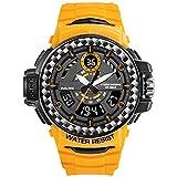 WNGJ Reloj Digital para Hombres, Tendencia multifunción Deportiva al Aire Libre, Relojes para Hombres y Mujeres de Todo el Mundo, Relojes Deportivos a Prueba de Agua, rel Yellow