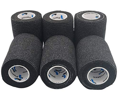 PintoMed – Dehnbare Kohäsive Bandage Fixierband – Schwarz – 7,5cm x 4,5m - Insesamt 6 Stuck, 7,5cm breit, 4,5m Dehnbare, elastische kohasive selbsthaftende Sport fixierbinde