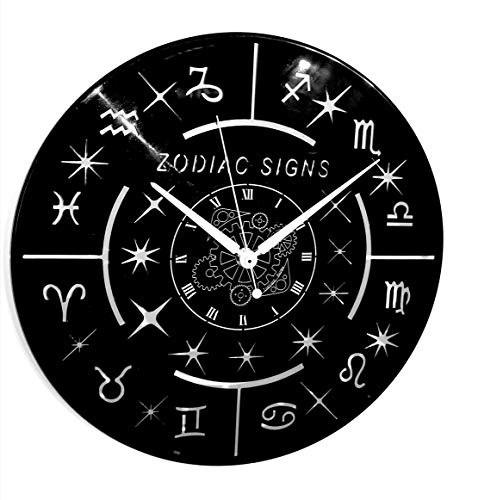 Instant Karma Clocks Reloj de Pared de Vinilo instantáneo Karma Idea Regalo Hand Made-Oroscopo Afinidad ASTROLOGIA Signos Zodiacos Vintage, Silencioso