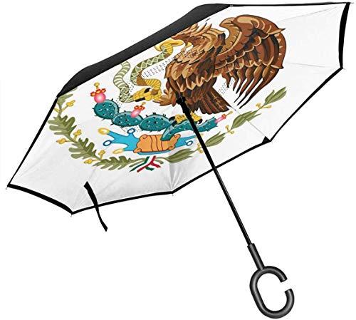 Großer gerader umgekehrter Regenschirm Inside Out Umbrella 2 Layer Folding Windproof UV Protection Selbstständer mit C-förmigem Griff im Inneren Mexikanische Flagge Eagle Symbol Print für Auto Re