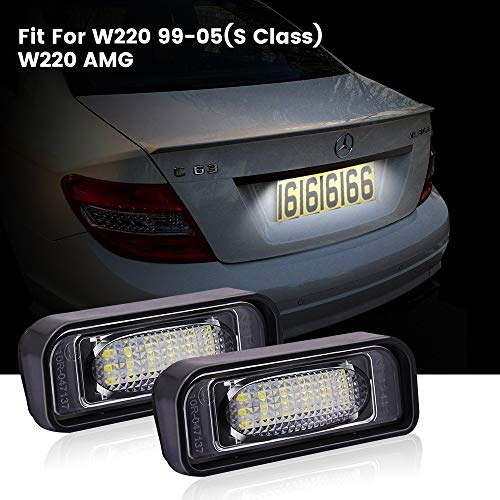 License Plate Lights,Biqing 2Pcs LED License Number Plate Light Lamp No Error Canbus Rear Tag Led License Plate Lights Kit Fit For B-enz W220 99-05(S-class)/W220 AMG